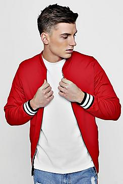 Red Sports Rib Bomber Jacket