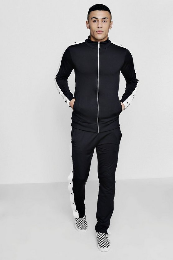 Popper Detail Panelled Tracksuit