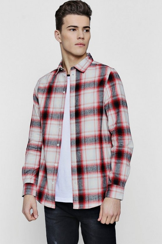 Red Shadow Check Long Sleeve Shirt