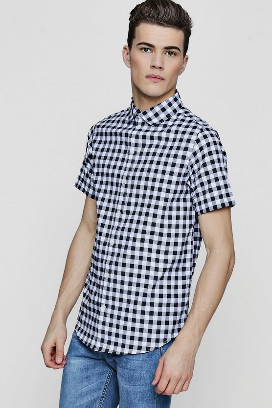 Slim Checkerboard Short Sleeve Shirt