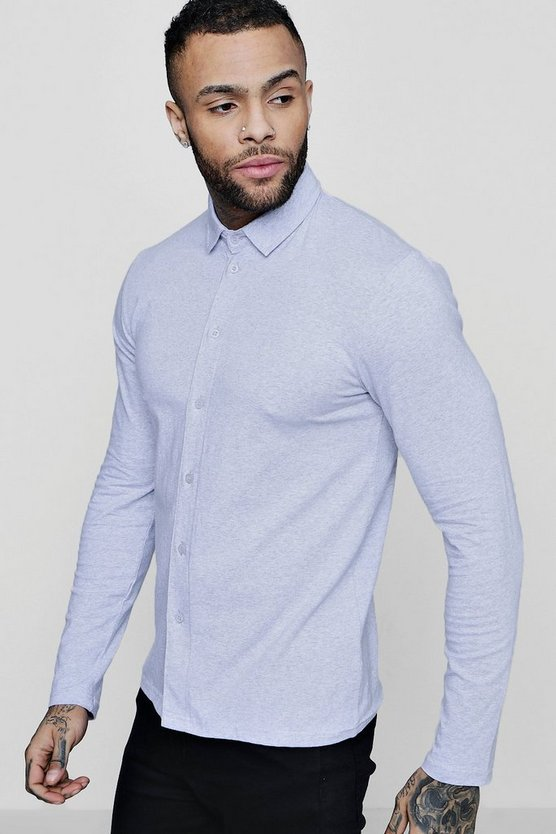 Muscle Fit Long Sleeve Jersey Shirt