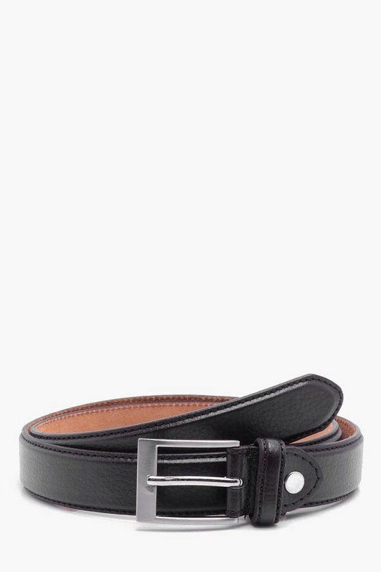 Narrow Tumbled PU Belt with Leather Lining