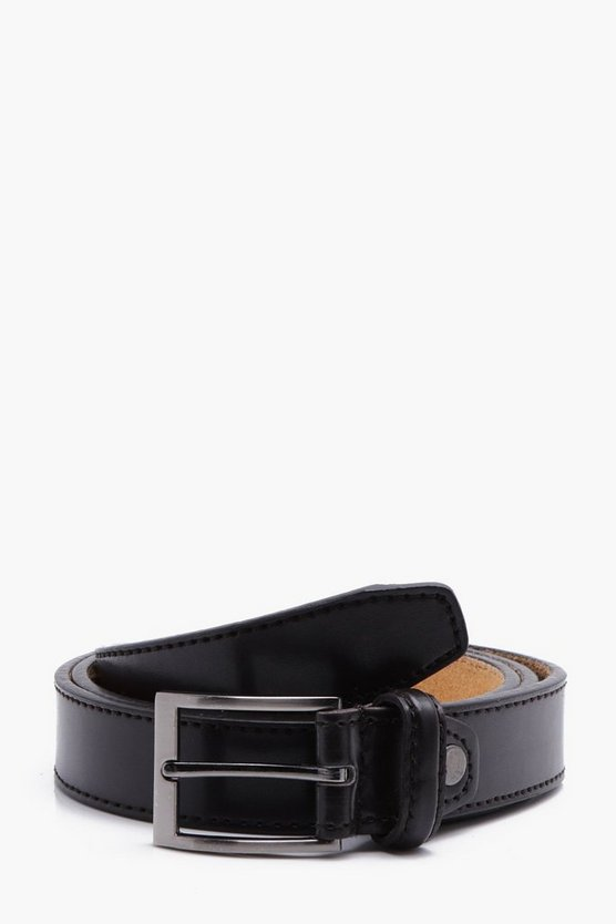 Stitch Detail PU Belt with Leather Lining