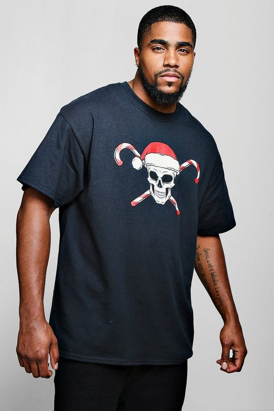 Big And Tall Skull Candy Cane Print T-Shirt