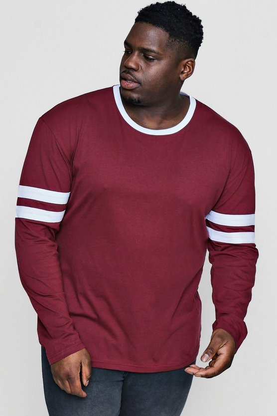Big And Tall Long Sleeve Contrast T-Shirt