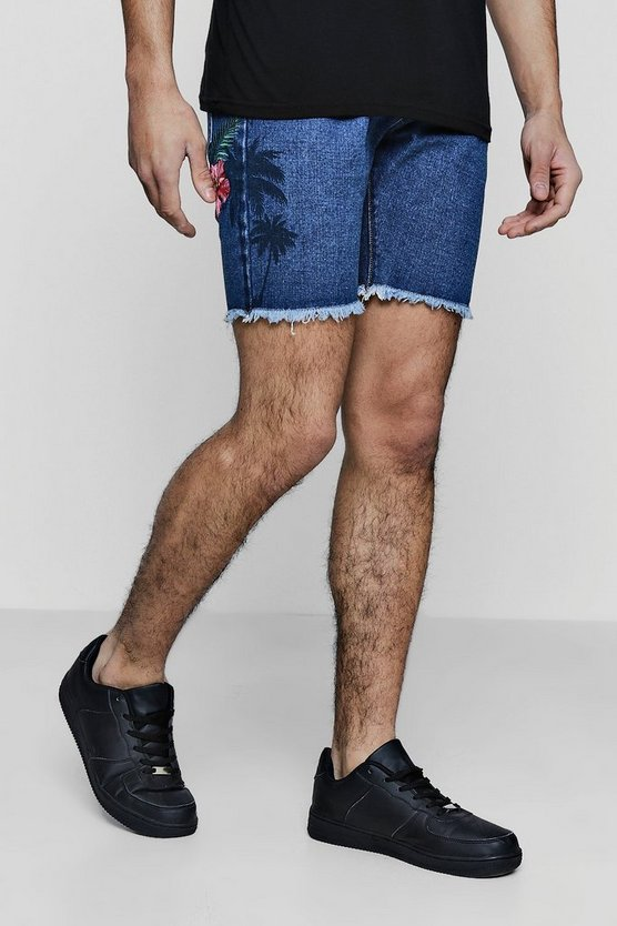 Slim Fit Denim Shorts With Floral Embroidery