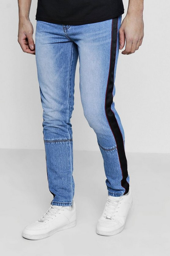 Skinny Fit Jeans With Taped Side Seam