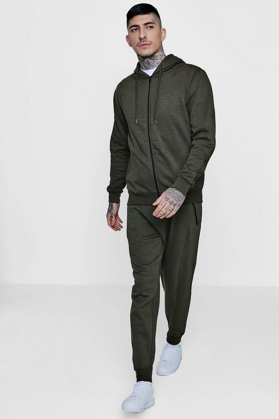 Skinny Fit Zip Through Tracksuit
