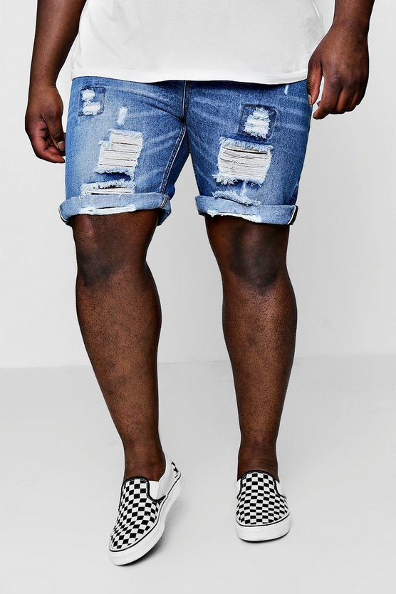 Big And Tall Denim Shorts With Selvedge Taping