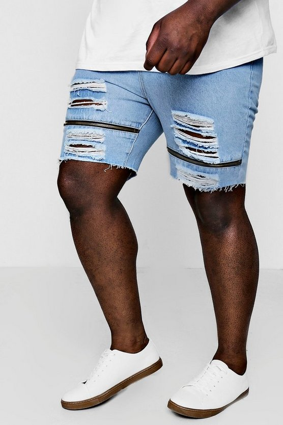 Big And Tall Loose Fit Denim Shorts With Zips