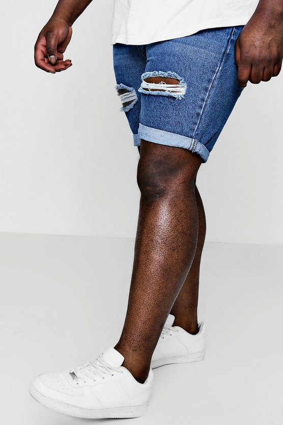 Big And Tall Distressed Slim Denim Shorts