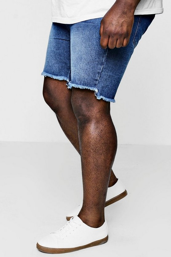 Big And Tall Stepped Hem Slim Denim Shorts