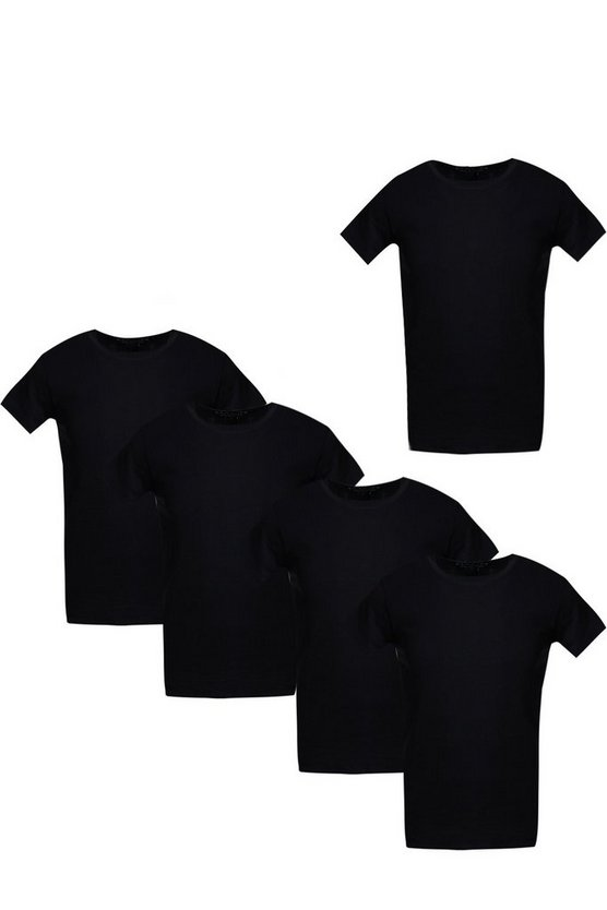 5 Pack Crew Neck T Shirts in Muscle Fit