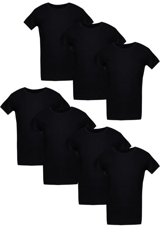 7 Pack Crew Neck T Shirts in Muscle Fit