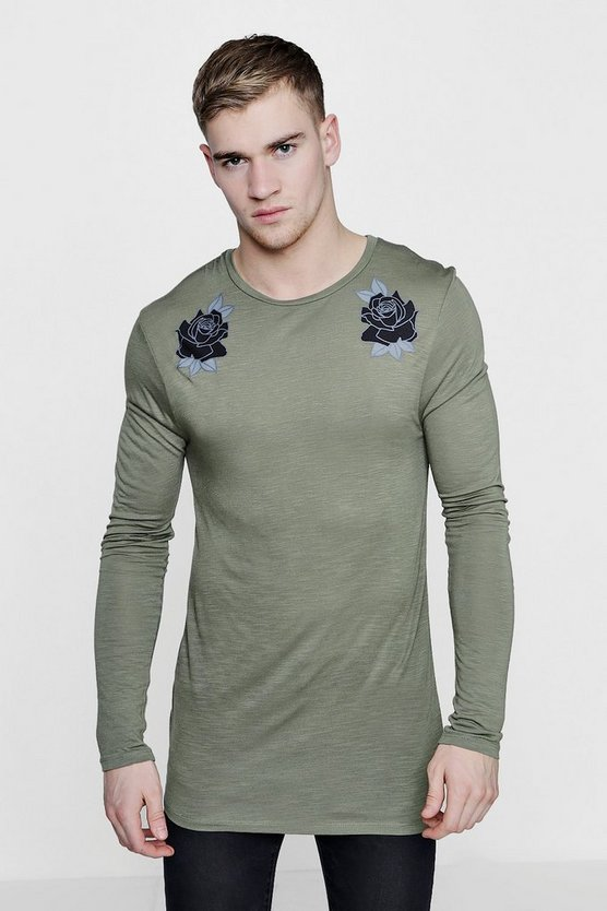 Long Sleeve Muscle Fit Rose Print T-Shirt