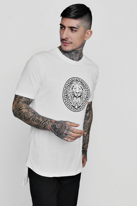 Longline Lion Print T-Shirt With Curve Hem
