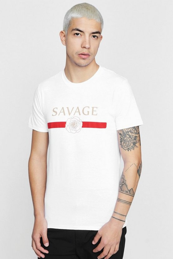 Savage Rose Print Crew Neck T-Shirt