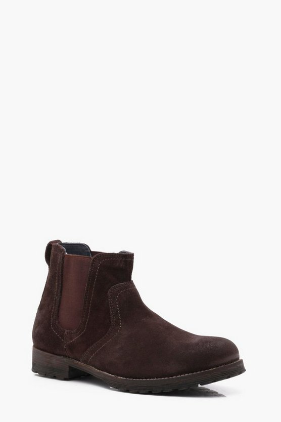Cleated Suede Chelsea Boots