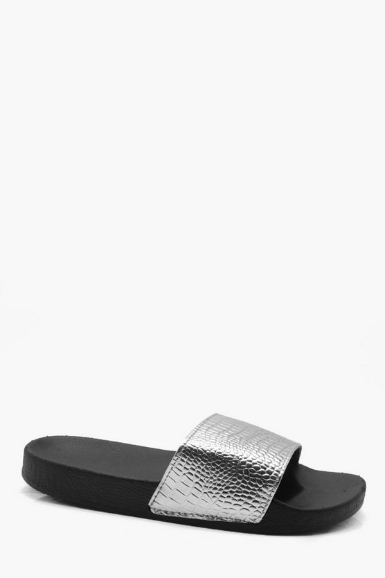 Faux Croc Skin Pool Sliders