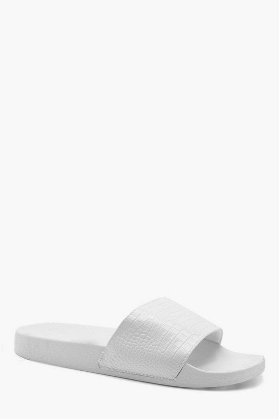 White PU Croc Effect Sliders