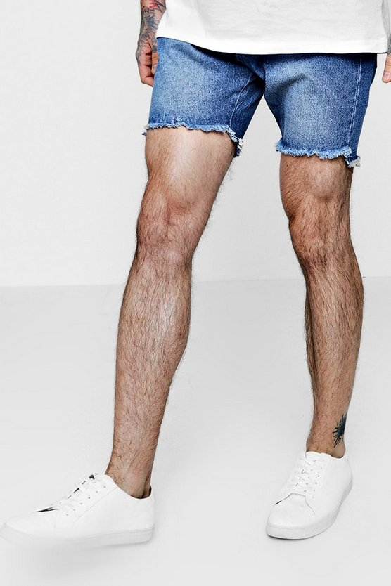 Slim Fit Denim Shorts With Raw Stepped Hem