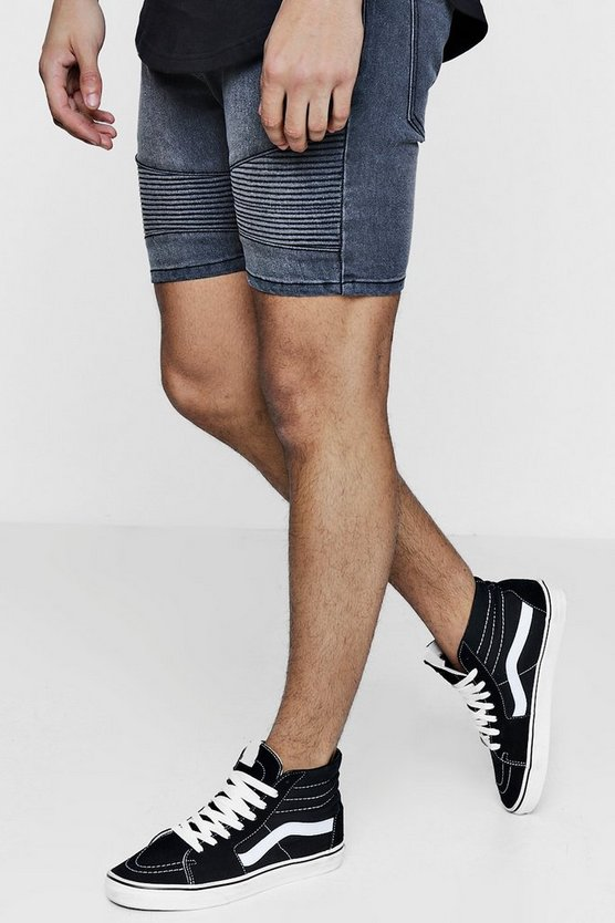 Stretch Skinny Fit Denim Biker Shorts