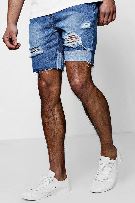 Slim Fit Panelled and Distressed Denim Shorts
