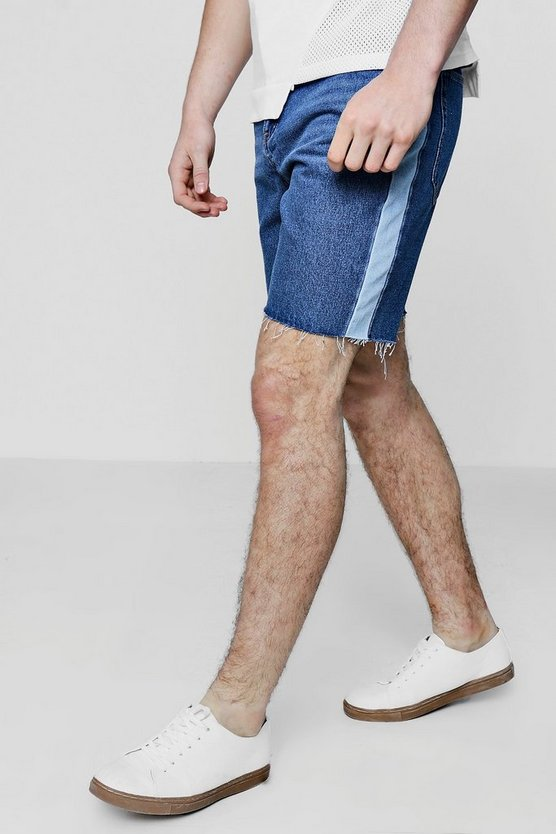 Contrast Side Panel Bermuda Denim Shorts