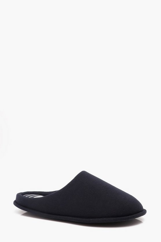 Mens Navy Jersey Mule Slipper