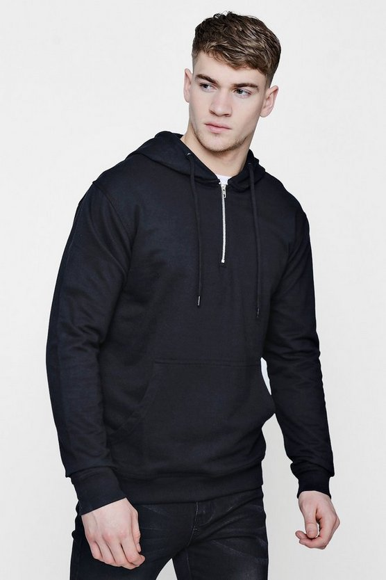 Over The Head Hoodie With Zip Placket