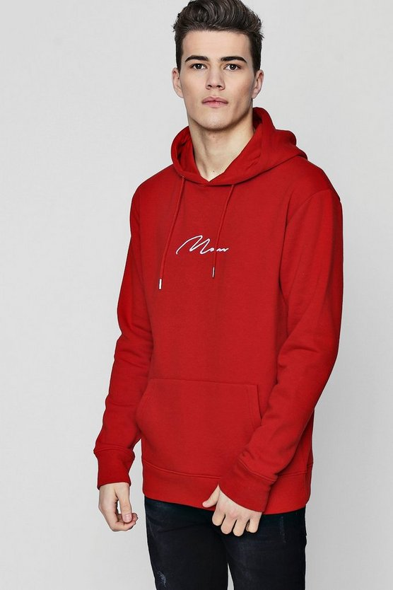 MAN Signature Embroidered Hoodie In Fleece