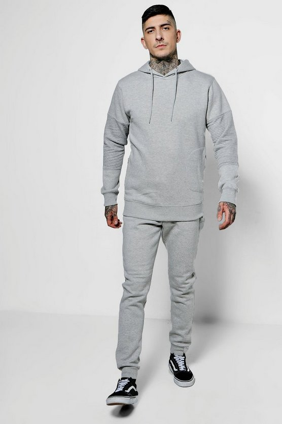 Skinny Fit Over The Head Hooded Biker Tracksuit