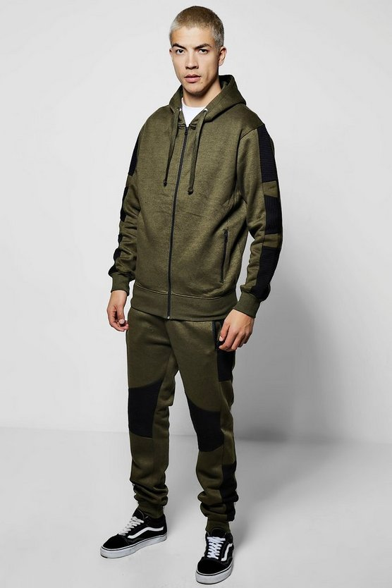 Skinny Fit Zip Through Biker Tracksuit