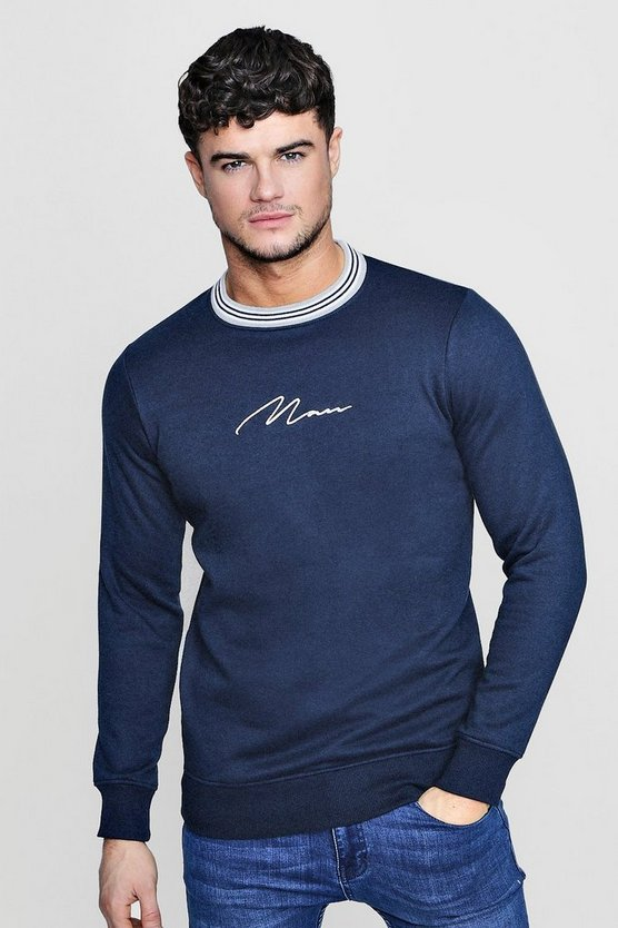 Contrast Rib MAN Signature Sweater
