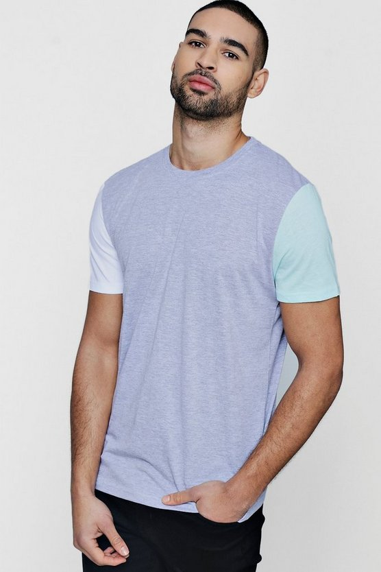 Contrast Colour Block Short Sleeve T-Shirt
