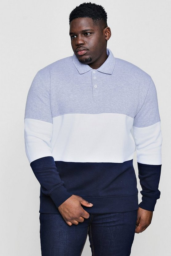 Big And Tall Rugby Fleece Colour Block Sweat