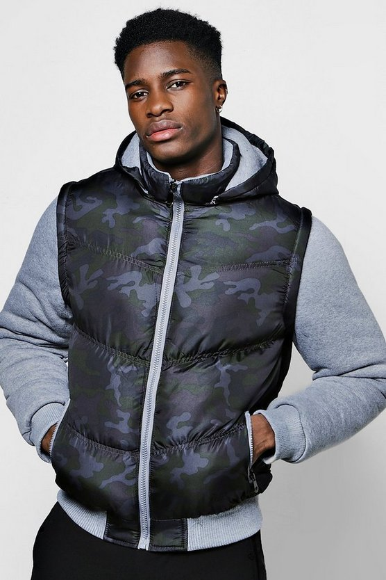 Camo Puffer Jacket With Jersey Sleeves