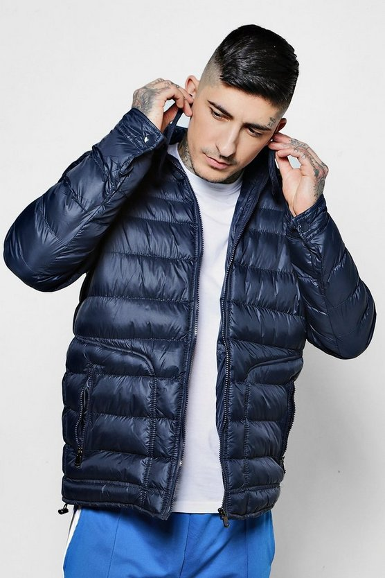 Hooded Puffer Jacket With In-Built Headphones