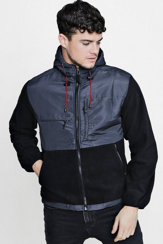 Polar Fleece Panel Hooded Jacket