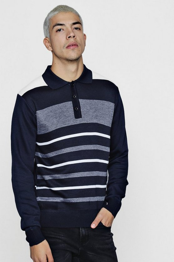 Colour Block Long Sleeve Knitted Polo