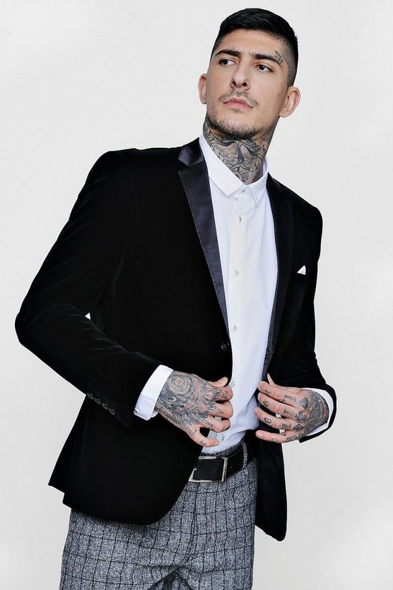 Black Velvet Tux Skinny Fit Jacket