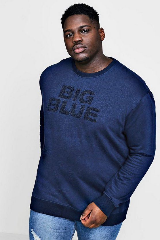 Big And Tall Slogan Badge Crew Neck Sweater