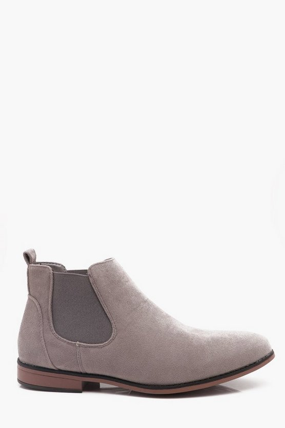 Light Grey Faux Suede Chelsea Boots