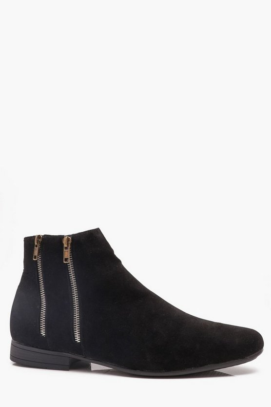 Faux Suede Double Zip Chelsea Boot