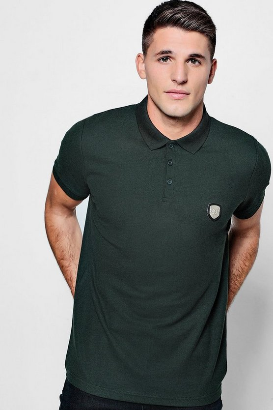 MAN Embossed Badge Print Polo