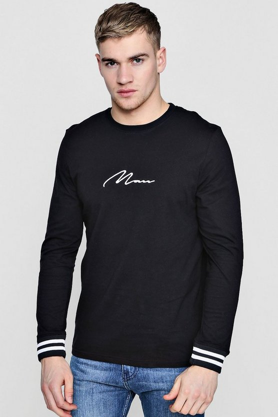 Long Sleeve MAN Signature T-Shirt With Sports Cuff