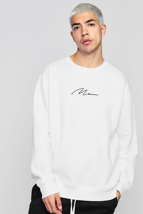 Oversized MAN Embroidery Signature Sweater
