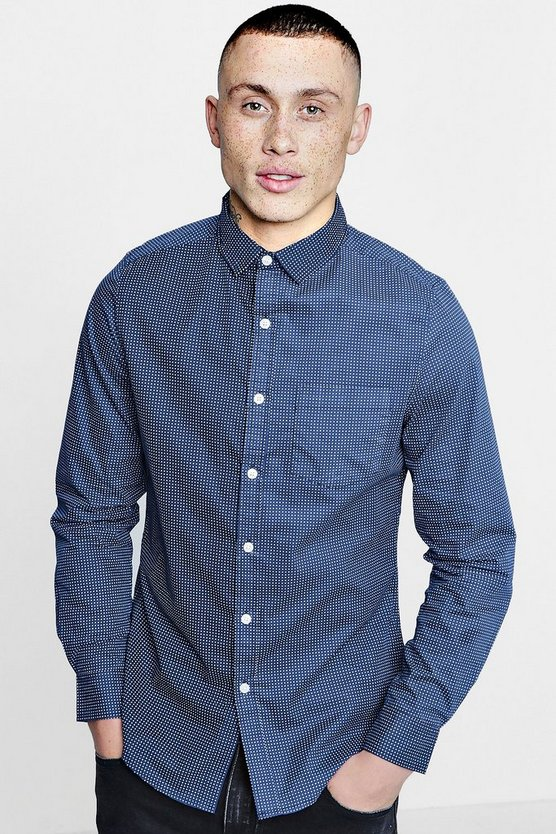 Smart Polka Dot Print Slim Fit Shirt