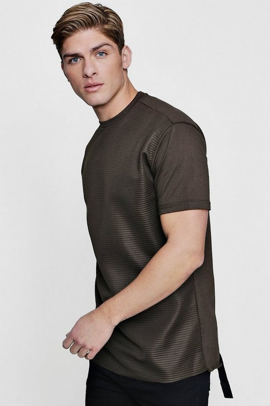 Longline Biker Rib T-Shirt With Taping