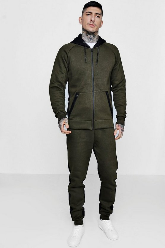 Skinny Fit Hooded Half And Half Tracksuit